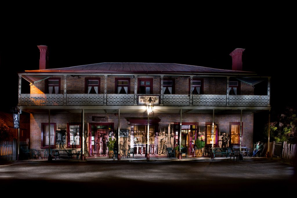 The Royal Hotel is the only surviving hotel from the gold rush. I projected a photo I found of drinkers at the former All Nations Hotel - their stances seemed perfect. Peter Sparks (far right) a barman at the Royal, kindly sat in on the photo holding a glass of beer.