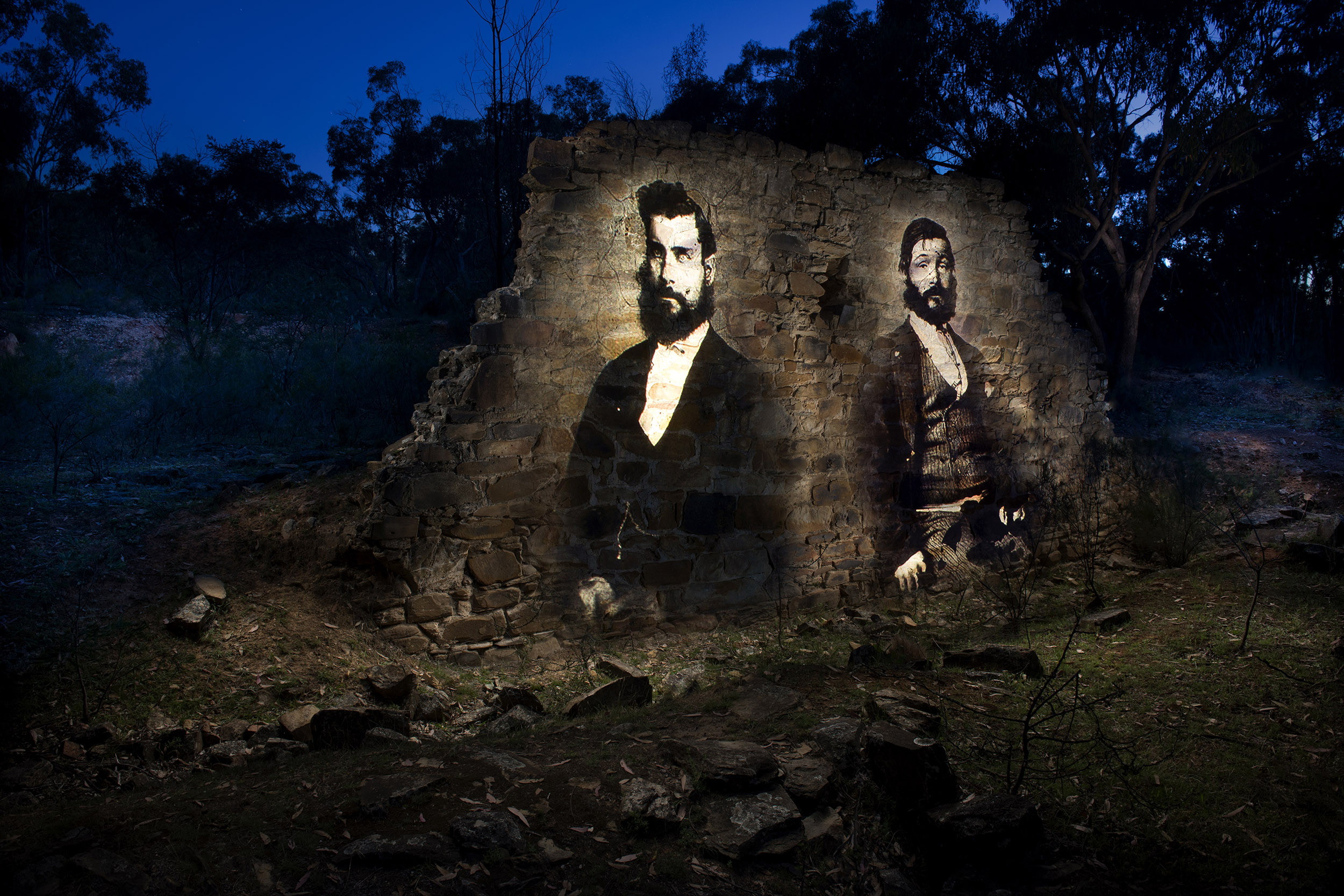 The last remaining edifice of the mighty Chappell's Gold Battery near Bald Hill. I chose these portraits of Mr Stanley Hosie (left) and Jack Plummer on a whim. Their countenance conveyed to me a sense of purpose and industry, which like this crumbling wall has now faded in the passage of time.